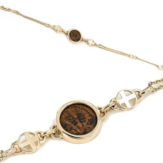 14k gold bracelet with ancient biblical coin-1a