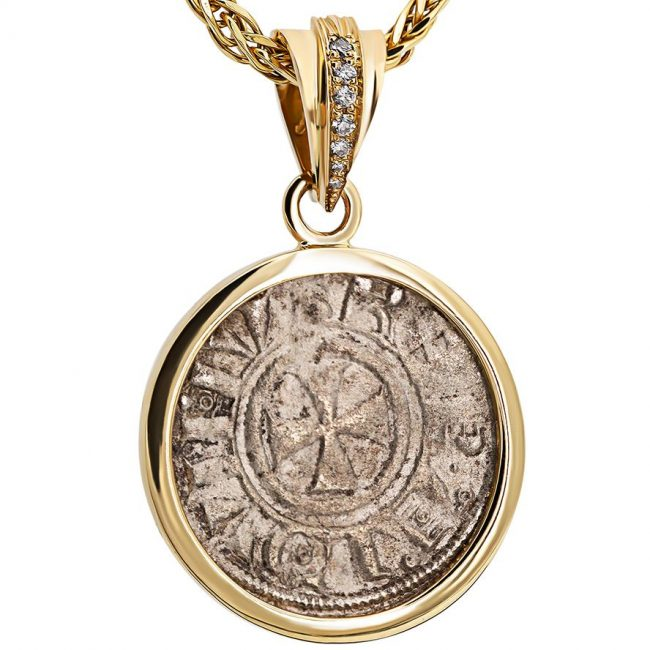 Crusader Jerusalem Coin in a Gold Pendant