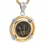 Herod Ancient Biblical Coin 14k Gold Diamond Pendant