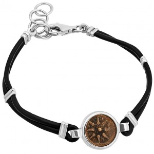 Leather silver bracelet widows mite coin