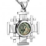 Silver widow's mite cross pendant