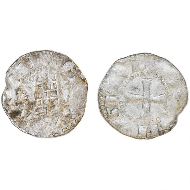 Crusader Silver Coin with a Cross - Tower of David