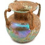 Four Handled Roman Glass Vase Blue Gray Patina