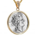 The Greek Dionysos Silver Coin in a 14k Gold Pendant