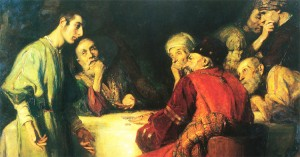 Judas receiving thirty pieces of silver for betraying Jesus