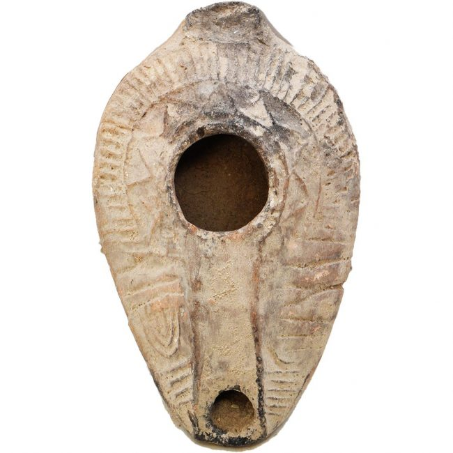Byzantine Oil Lamp Stamped with a Menorah