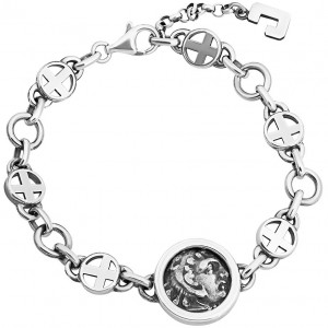 "Ancient Greek Coin ""Alexander th Great"" in a Silver Bracelet"