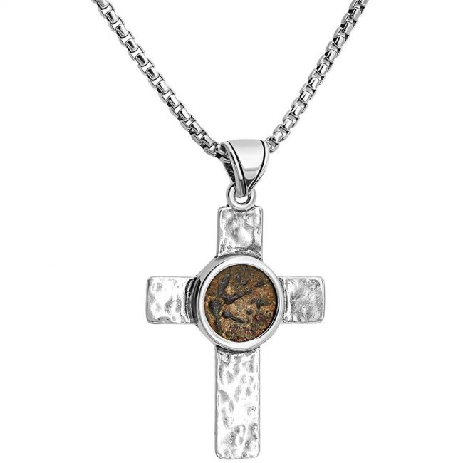 Widow's Mite Ancient Coin in a Solid Silver Cross Necklace
