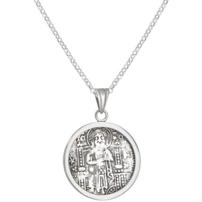 Crusader Denarius Coin Set in a Silver Pendant