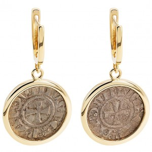 Crusader Coin Set in a Gold Earrings