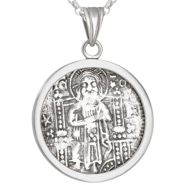 Crusader Denarius Coin Set in a Silver Necklace