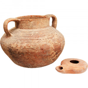 Ancient Cooking Pot and Oil Lamp from Jesus Time side A