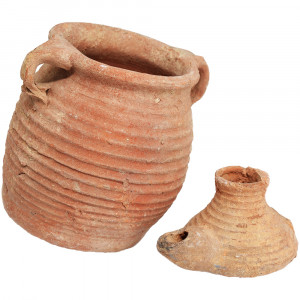 Byzantine Oil Lamp and a Jar - Found in Israel (angle 2)
