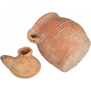 Byzantine Oil Lamp and a Jar - Found in Israel (angle 3)