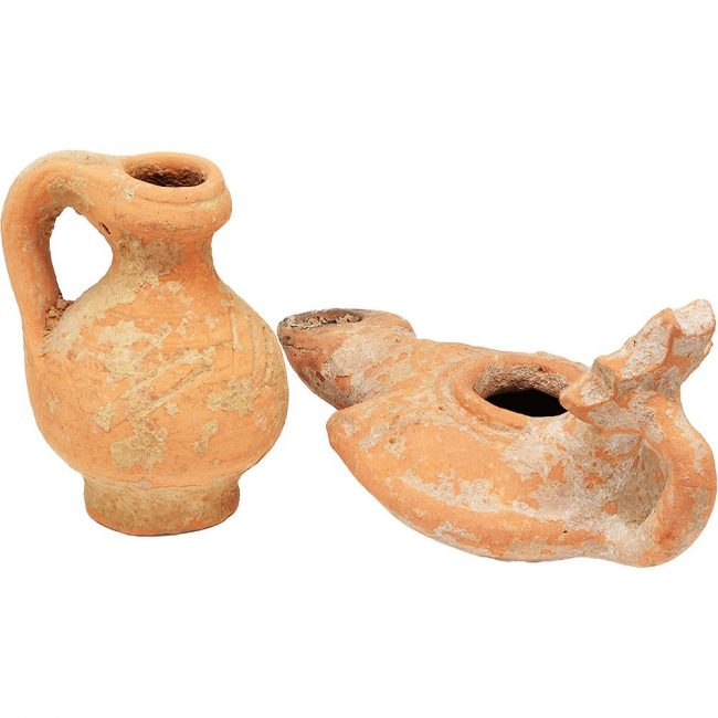Byzantine Oil Lamp and a Juglet - Found in Jerusalem (rear view)