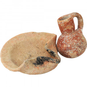 Iron Age Period Oil Filler And Oil Lamp Ancient Set