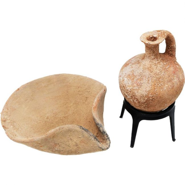 Middle Bronze Age Oil Lamp and a Juglet - Abraham's Period (on stand)