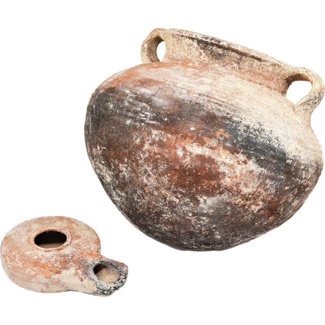 Jesus Time Oil Lamp and a Cooking Pot - Herodian Pottery (lamp near)