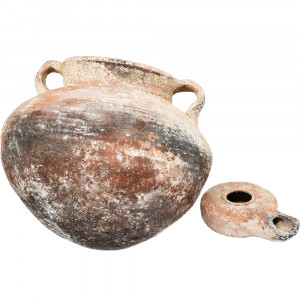 Jesus Time Oil Lamp and a Cooking Pot - Herodian Pottery (Pot near)