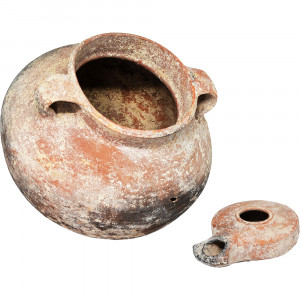 Jesus Time Oil Lamp and a Cooking Pot - Herodian Pottery